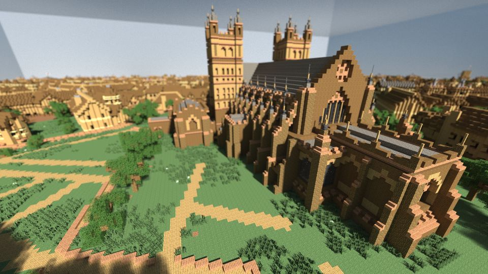 Exeter Cathedral reproduced in Minecraft