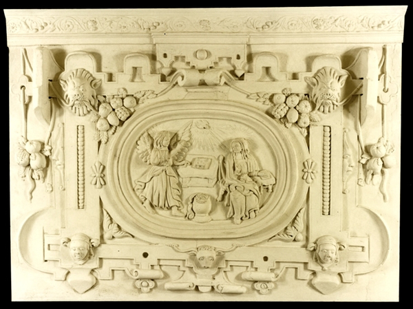 Barnstaple: Museum of Barnstaple  North Devon - decorative plasterwork overmantel