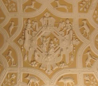 Barnstaple: 62 The Bank - decorated plaster ceiling