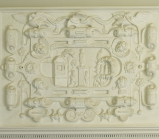 Galmpton: Greenway - decorated plasterwork overmantel