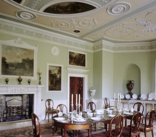 Plympton: Saltram House - Entrance Hall, Saloon and Library ceilings
